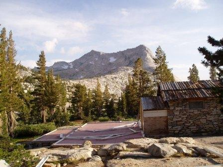 Vogelsang High Sierra camp dismantled due to heavy snowfall previous winter.