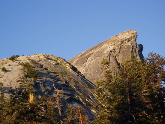 This was the view of Half Dome from our camping area.  Think you can see some people up there.