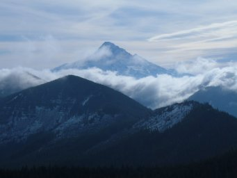 Mt. Hood with Mt. Chinidere (left behind clouds)