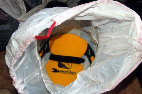 Garbage bag pack and SnowClaw inside