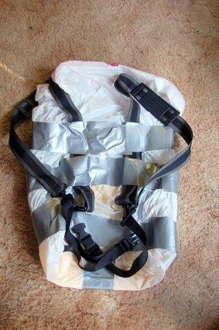 Garbage bag pack empty back and harness