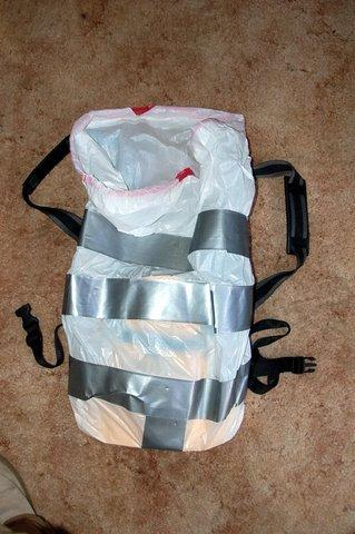 Garbage bag empty front and tape sizing