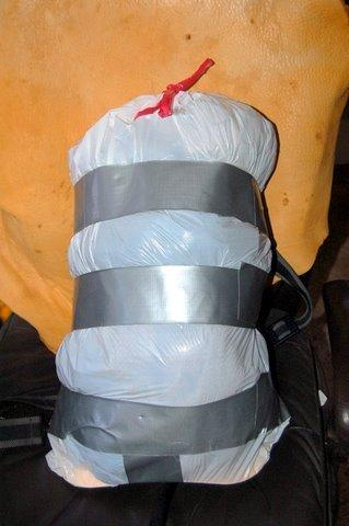 Garbage bag pack full front view