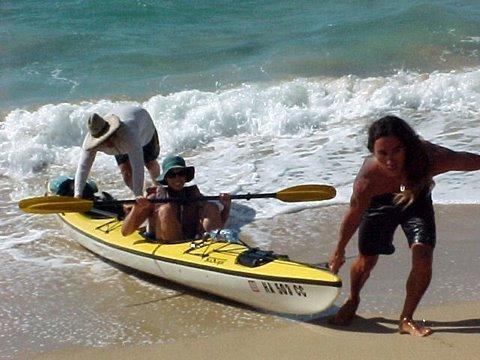Kauai kayak landing two Napali southside