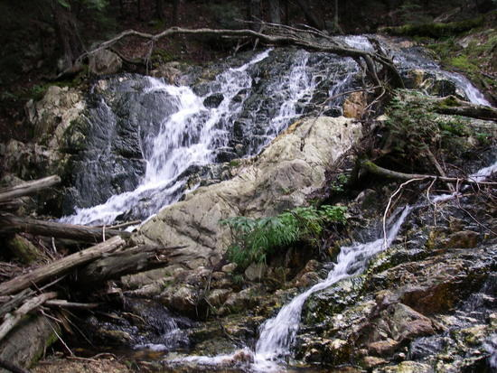 waterfall out of Nellie lake along portage.
