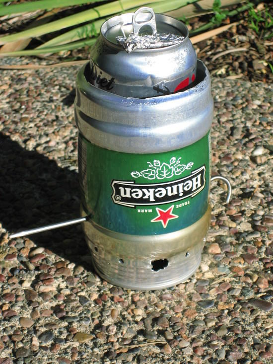 Heineken windscreen with soda can pot and titanium stake