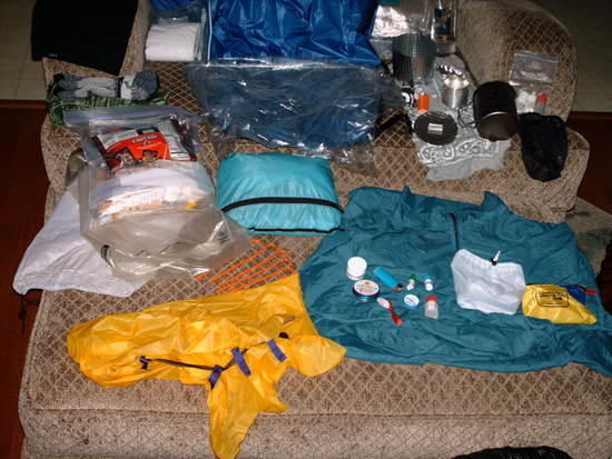 Some of my gear, less vest, windshirt, sleeping bag, and bivy