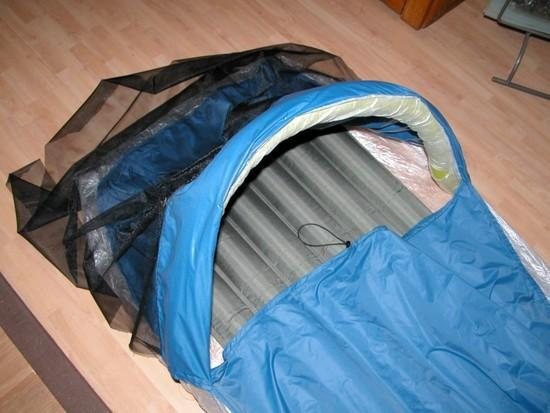 Bivy opening with balloon in sleeve