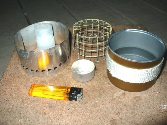 'Diamond almond' stove w/windscreen, pot stand and 'tea candle' fuel holder