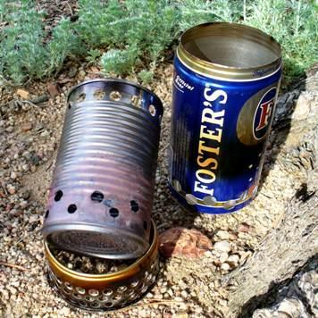 Soup can -wood burner, Beer can - sleeve gasifier, Cat food tin - riser pot stand