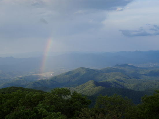 a rainbow created by the rainy weather, seen from wayah bald