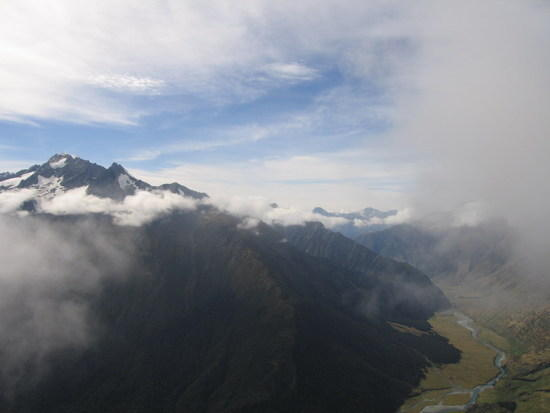 Looking down Matukituki Valley from Cascade Saddle, Mt Aspiring National Park, New Zealand.