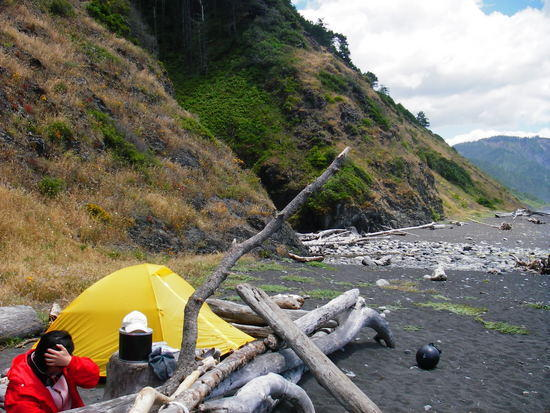 Setting up camp at Gitchell Creek Lost Coast