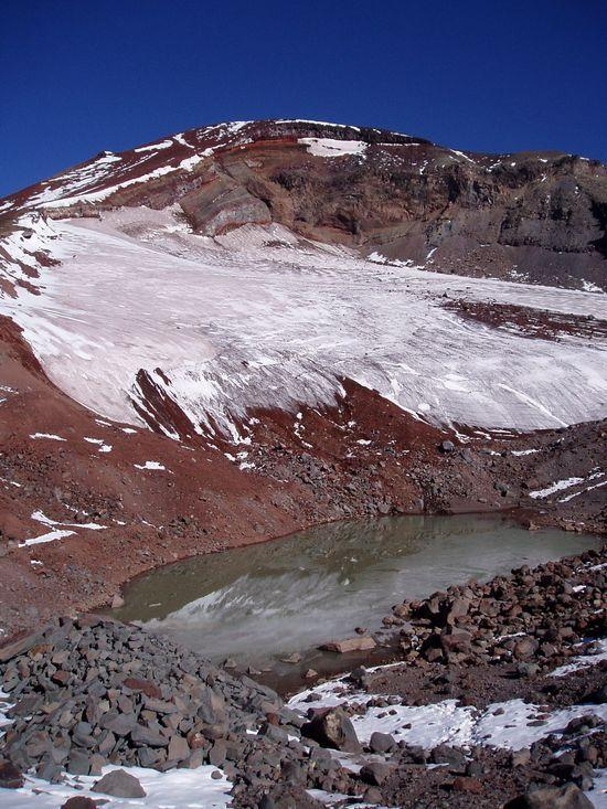Me getting water from glacial lake on South Sister