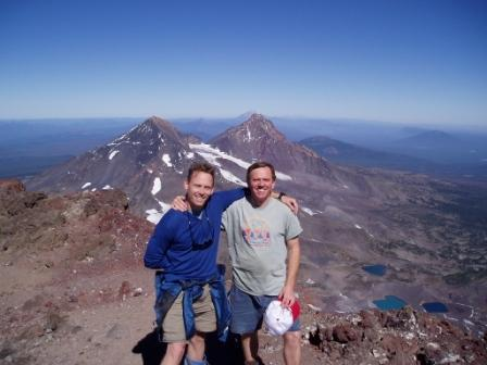 Me & my brother Rich on South Sister with North & Middle Sisters over our shoulders