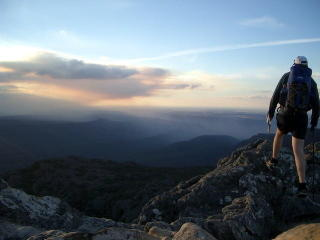 Walking in the Grampians with a Golite Jam, Oware bivy and poncho, cooking on a red bull stove.