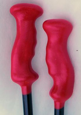 Finished trekking pole handles made from Floam(TM) coated with Plasti-Dip(TM)