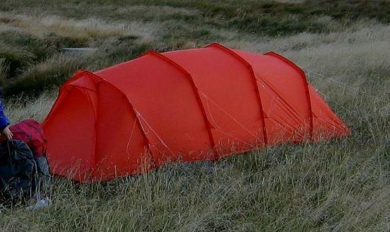 Peaked tunnel tent in high wind in Australian Alps