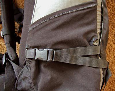 Close-up view of Granite Gear Vapor Day side pocket with compression strap going through the pocket