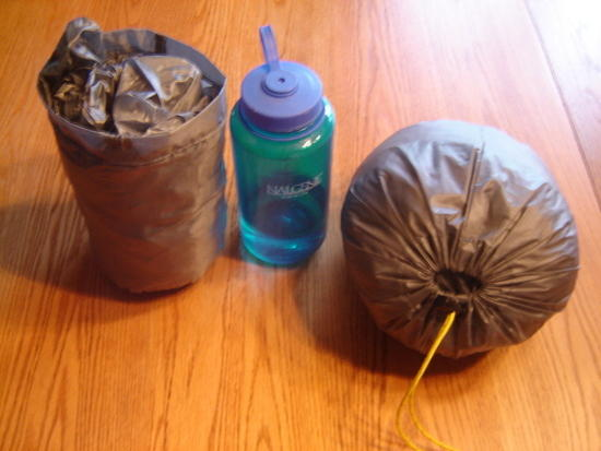 tarp and bivy in stuff sacks