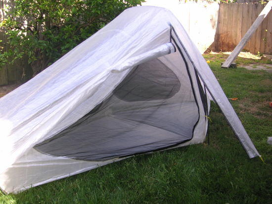 Tent with rain fly open