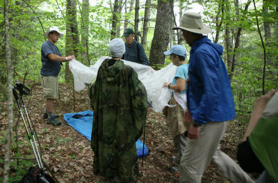 Students set up an ultralight tarp