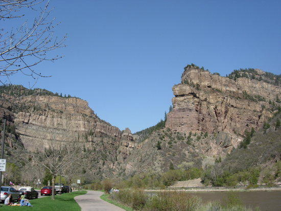 The towering cliffs of Glenwood Canyon