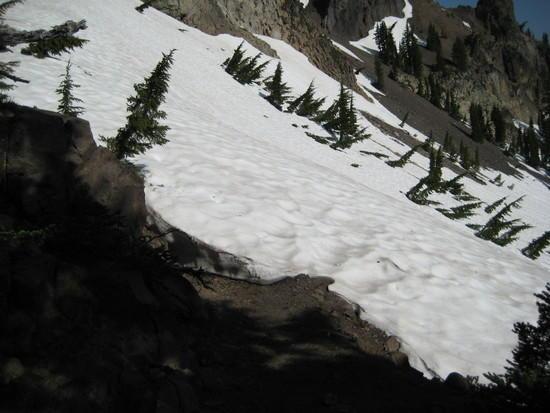 Snow on trail at Devils Peak.