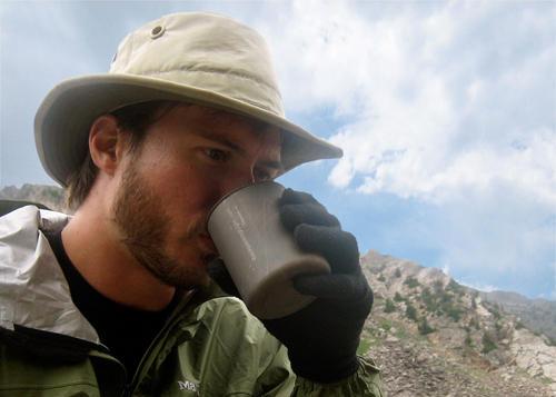 Trapper Mug - Sam drinking coffee