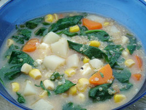Quinoa and Spinach Soup (A Fork in the Trail page 170)
