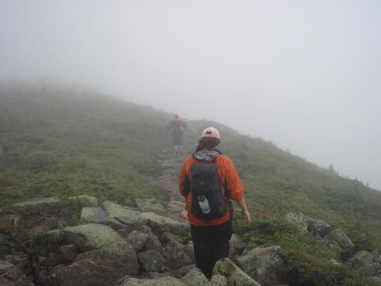 walking through mist