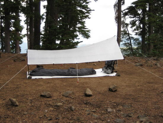 Camp next to Alta Lake.