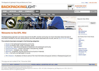 Backpacking Light Wiki