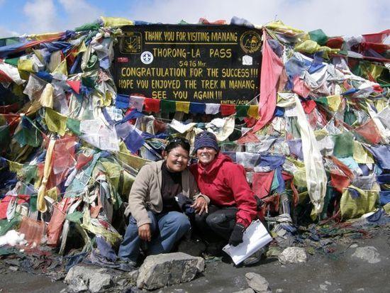 Sarah and Chandra at Thorong-La Pass, Nepal