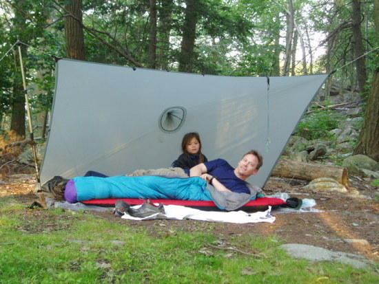 My daughter & me tarping on the AT