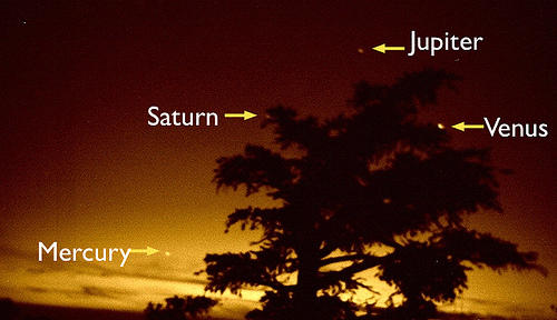 five planets visible, four in shot