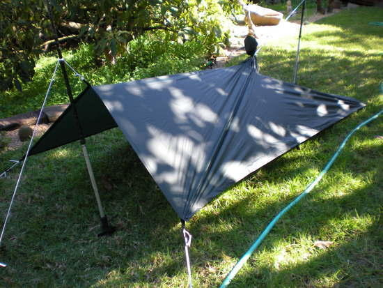 Golite poncho set up as tarp