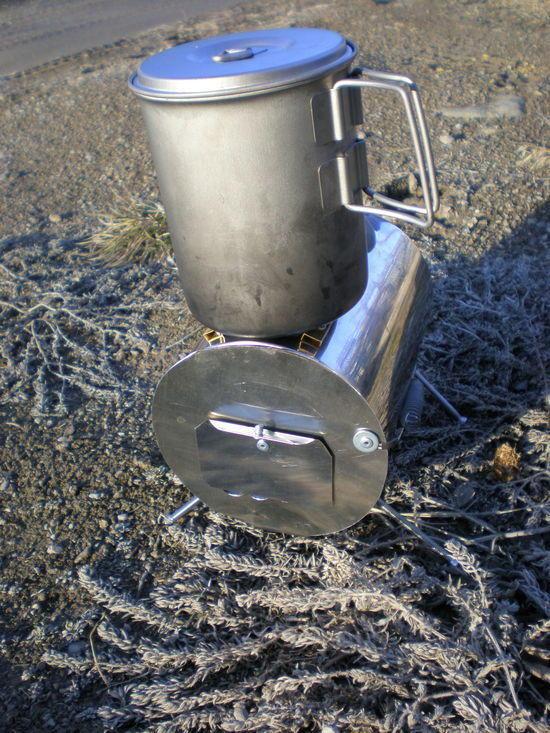 Snow Peak Ti Kettle on wood stove