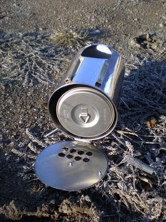 Kettle fits inside stove for transport