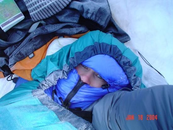 self portrait, quilt w/ separate hood inside bivy. low teens, but warm