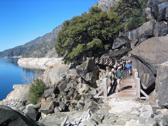 Crossing the First Bridge of Wapama Falls