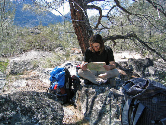 Cameron Kicking Back at the Campsite Planning a Dayhike