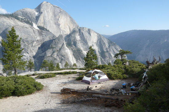 Campsite with amazing view of Half Dome.