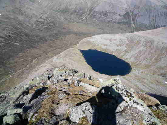 Looking down at the little lake from the summit