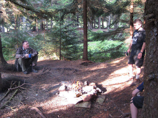 Relaxing around the campfire on our final day in the Dolly Sods