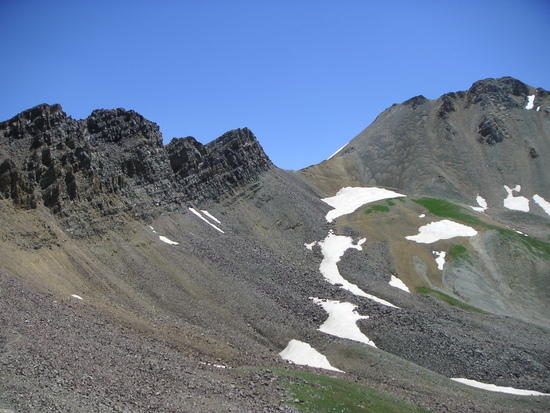 Looking up toward Triangle Pass