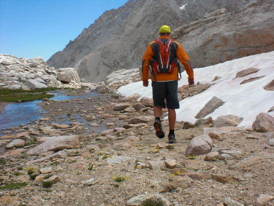 Dayhiking down to Consultation Lk. The Salomon backpack was the one used on JMT.