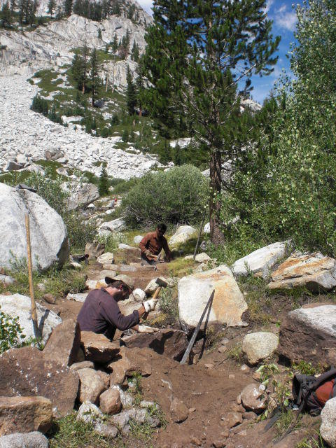 Trail Crew at work on Muir Pass approach