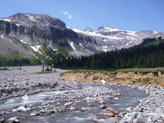 View of Ohanpecosh River and Glacier from Indian Bar Camp
