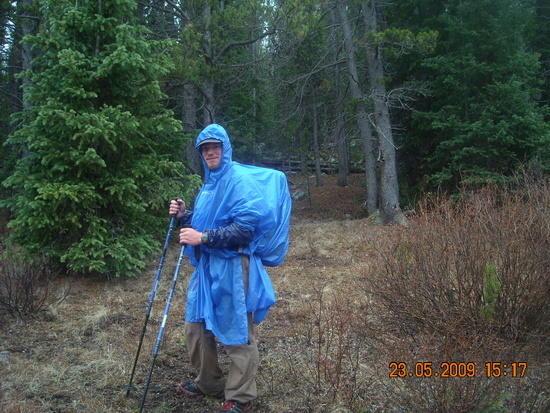 Hiking in the rain.